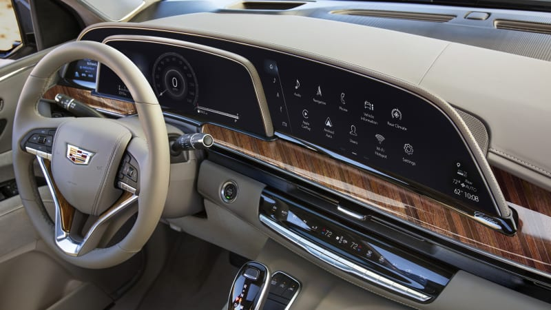 The 2021 Cadillac Escalade's triple screen layout is its crown jewel
