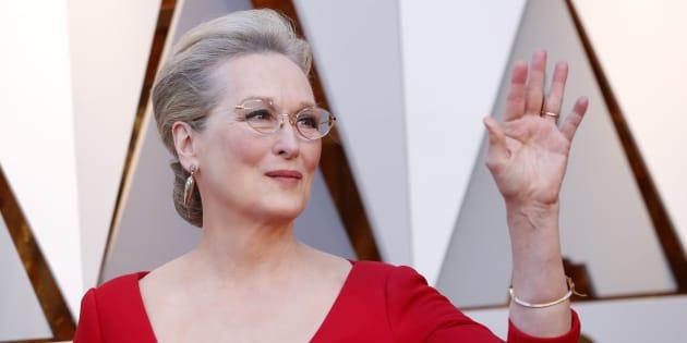 Meryl Streep a su llegada a la ceremonia 90 de los premios Oscar, en 2018.