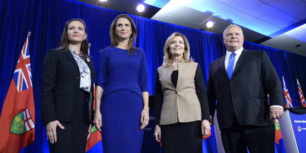 Ontario PC leadership candidates Tanya Granic Allen, Caroline Mulroney, Christine Elliott and Doug Ford pose for a photo after participating in a debate in Ottawa on Feb. 28, 2018.