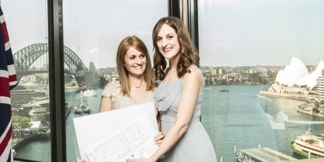 Shirleene and Sarah on their wedding day at the British Consulate in Sydney.