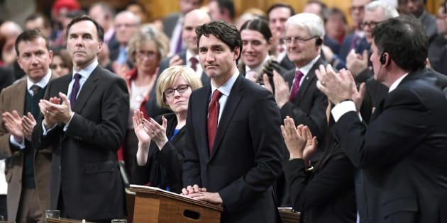 Prime Minister Justin Trudeau is applauded as he rises to deliver a speech on the recognition and implementation of Indigenous rights in in the House of Commons on Feb. 14, 2018.