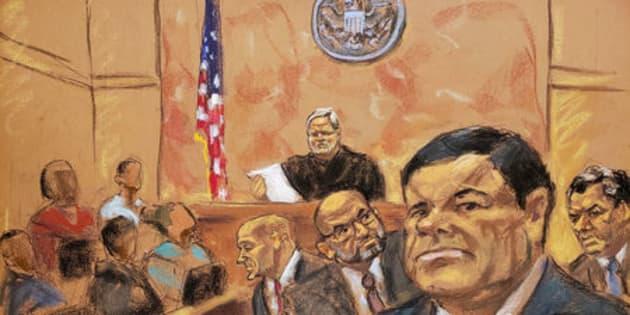 Dibujo del Chapo Guzmán en la corte de Nueva York en la espera del veredicto
