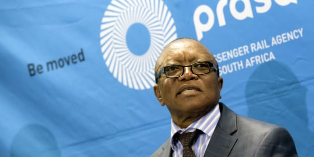 Then chairperson of the Prasa board, Popo Molefe, addresses the media about the findings of the Public Protector on September 3, 2015 in Pretoria.