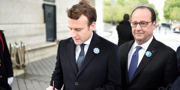 Emmanuel Macron et François Hollande au lendemain du second tour de l'élection.