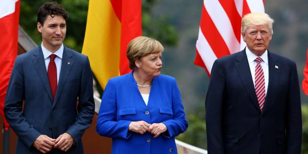 Le premier ministre canadien Justin Trudeau, la chancelière allemande Angela Merkel et le président américain Donald Trump lors du G7 de 2017 en Italie.