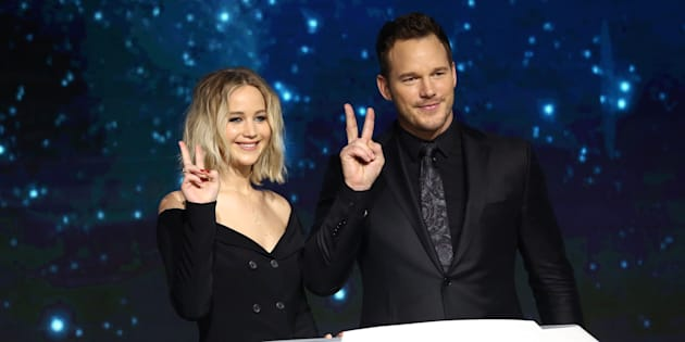 BEIJING, CHINA - DECEMBER 17:  American actress Jennifer Lawrence and American actor Chris Pratt attend the press conference of film 'Passengers' on December 17, 2016 in Beijing, China.  (Photo by VCG/VCG via Getty Images)