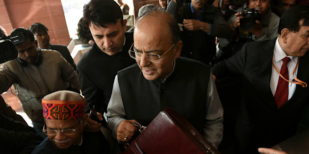 Indian Finance Minister Arun Jaitley arrives at Parliament House to present the Union Budget.