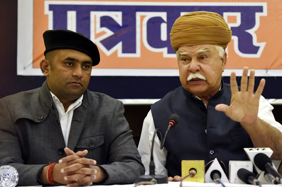 Founder of the Rajputana Karni Sena Lokendra Singh Kalvi (R) and its president Mahipal Singh Makrana (L).