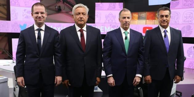 Los cuatro candidatos a la presidencia de México tras finalizar el tercer debate.