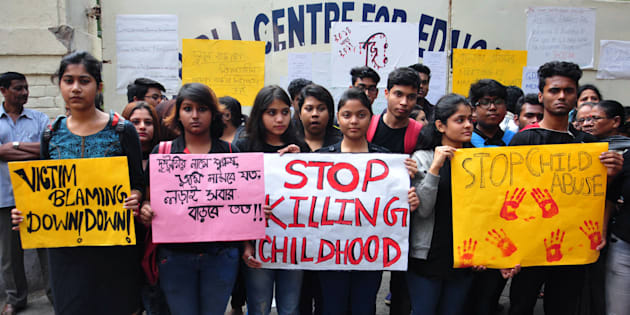 KOLKATA, WEST BENGAL, INDIA - 2017/12/04: Students take part in a rally to protest against school management in Kolkata.