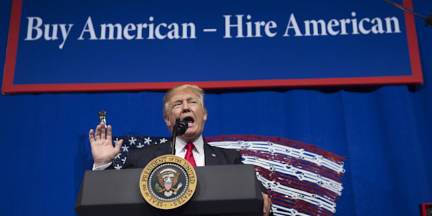 U.S. President Donald Trump speaks after touring Snap-On Tools in Kenosha, Wisconsin, April 18, 2017, prior to signing the Buy American, Hire American Executive Order.