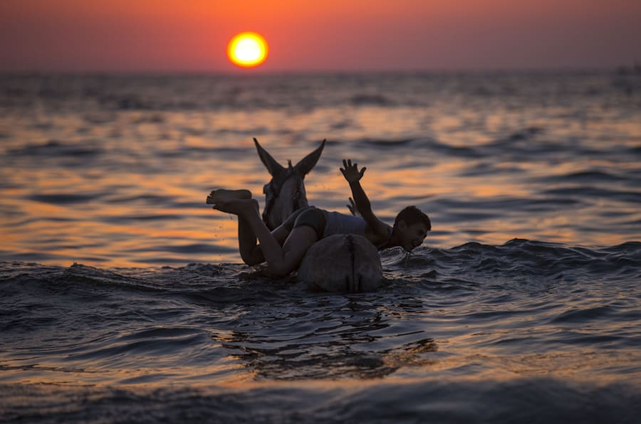 TOPSHOT - A Palestinian boy plays with a donkey in the sea at sunset in Gaza City on July 3, 2017. / AFP PHOTO / MAHMUD HAMS        (Photo credit should read MAHMUD HAMS/AFP/Getty Images)