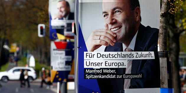 """Election campaign posters of Germany's conservative Christian Democratic Union (CDU) party and Christian Social Union (CSU) party for the upcoming European Parliament elections, depicting also Manfred Weber, top candidate of the European People's Party (EPP), are pictured in Berlin, Germany April 15, 2019. The posters read """"For Germany's future, our Europe"""" and """"Our Europe creates prosperity""""   REUTERS/Fabrizio Bensch"""