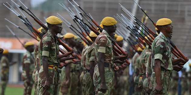 Zimbabwe Defence Force soldiers stand in formation on November 23, 2017, during drills to prepare for the inauguration of incoming president Emerson Mnangagwa.