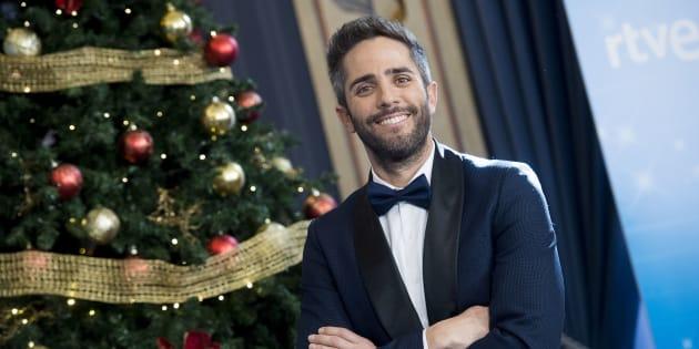 El presentador Roberto Leal, durante el brindis de Navidad de los presentadores de RTVE en Madrid el 19 de diciembre de 2017.