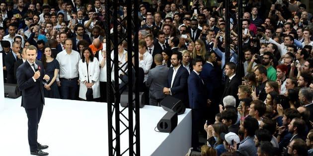 Le Président Emmanuel Macron lors de l'inauguration de l'incubateur de start-up Station F le 29 juin 2017.