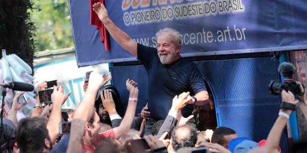 L'ex-président brésilien Lula à Sao Bernardo do Campo le 7 avril 2018.