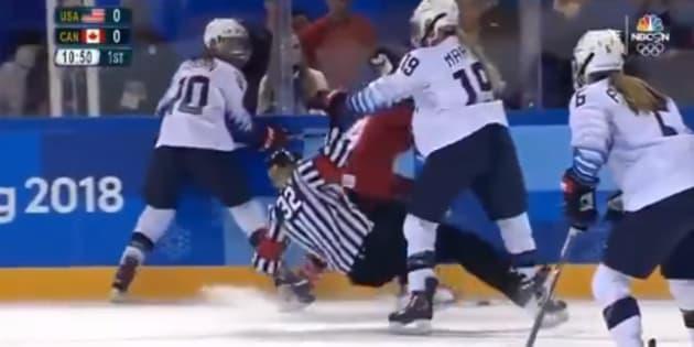 Gigi Marvin lors du match face au Canada aux JO de Pyeongchang