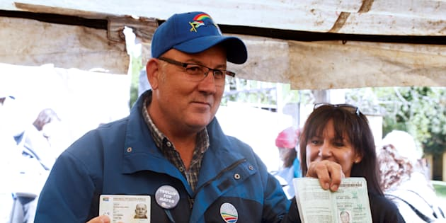 Nelson Mandela Bay mayor Athol Trollip voting in the municipal election at a polling station in Port Elizabeth, South Africa, on August 3 2016.