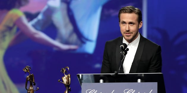 PALM SPRINGS, CA - JANUARY 02:  Actor Ryan Gosling speaks onstage at the 28th Annual Palm Springs International Film Festival Film Awards Gala at the Palm Springs Convention Center on January 2, 2017 in Palm Springs, California.  (Photo by Todd Williamson/Getty Images for Palm Springs International Film Festival)