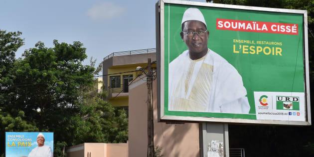 Affiche électorale de Soumaïla Cissé, le principal opposant à l'actuel président du Mali, Ibrahim Boubacar Keita, qui se re-présente.