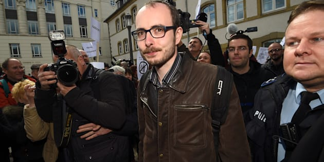 Former employee at services firm PwC Antoine Deltour leaves the courthouse in Luxembourg on April 26, 2016, during a trial over the so-called LuxLeaks scandal.