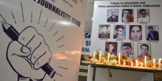 Les violences contre les journalistes repartent à la hausse en 2018 (Photo prise le 3 mai 2018 lors du World Press Freedom Day au cours duquel un hommage a été rendu en Inde aux journalistes tués à Kaboul le 30 avril dernier).