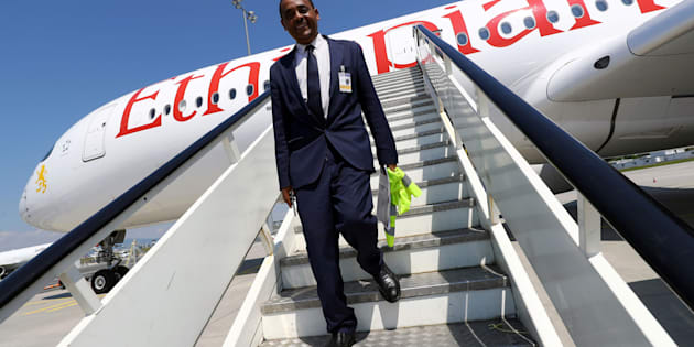 Thomas Gabreyohannes, Director for Germany and Central Europe of Ethiopian Airlines walks down the gangway of an Airbus A350-900 during a site-inspection at Fraport airport in Frankfurt, Germany, in May this year.