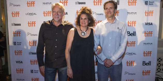 Anthropocene directors Edward Burtynsky, Jennifer Barchwal and Nicholas de Pencier at TIFF.