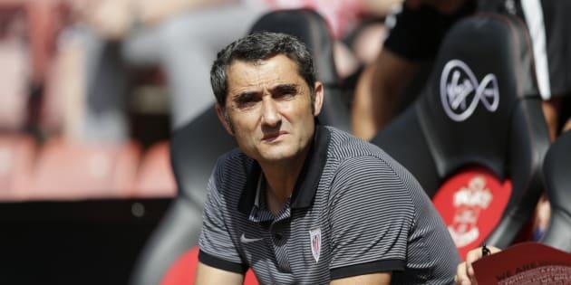 Ernesto Valverde sur le banc de l'Athletic Bilbao en 2016.