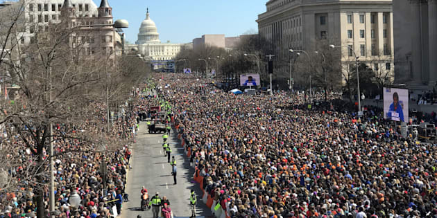 Thousands of people gather on Pennsylvania Avenue at the March For Our Lives rally in Washington.