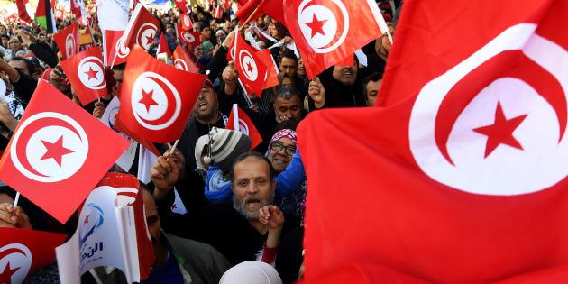 Protestas pacíficas en enero de 2018 en Túnez para conmemorar el séptimo aniversario de la Primavera Árabe.