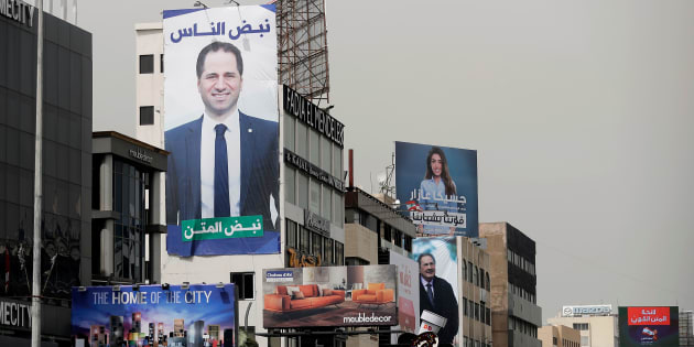 Portraits of candidates running in Lebanon's upcoming legislative elections, including Christian MP Sami Gemayel, the son of a former president, are seen on a main highwat north of the Lebanese capital Beirut on May 4, 2018. - Lebanon elects its parliament for the first time in nine years on Sunday, with its ruling parties seeking to preserve a fragile power-sharing arrangement despite regional tensions. (Photo by JOSEPH EID / AFP)        (Photo credit should read JOSEPH EID/AFP/Getty Images)