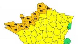 Treize départements en alerte orange pour vents