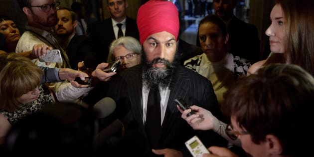 NDP Leader Jagmeet Singh speaks to reporters in the in the Foyer of the House of Commons on June 19, 2018.