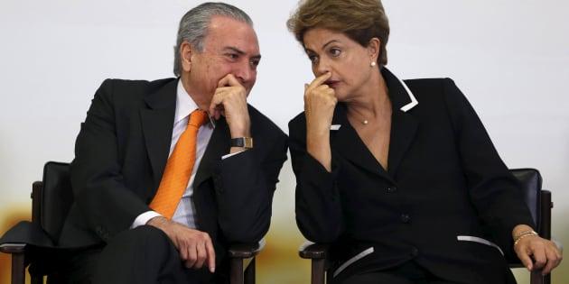 Presidente Michel Temer com ex-presidente Dilma Rousseff, quando era vice da petista.