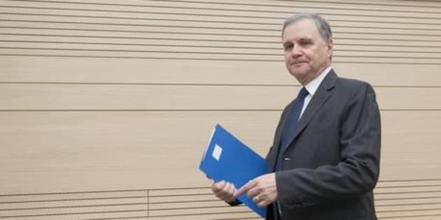Il Governatore della Banca d'Italia, Ignazio Visco, durante la cerimonia di intitolazione del Centro Carlo Azeglio Ciampi per l'educazione monetaria e finanziaria, Roma, 15 settembre 2017. ANSA/CLAUDIO PERI
