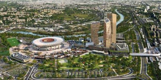 Un rendering del progetto dello stadio dell'As Roma, in un'immagine del 30 maggio 2016