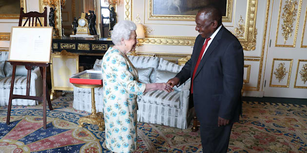 Britain's Queen Elizabeth II greets South Africa's President Cyril Ramaphosa during an audience at Windsor Castle, Berkshire on April 17, 2018, on the sidelines of the Commonwealth Heads of Government meeting (CHOGM).