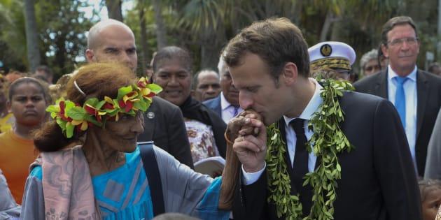 Le président Emmanuel Macron lors de son déplacement en Nouvelle-Calédonie.