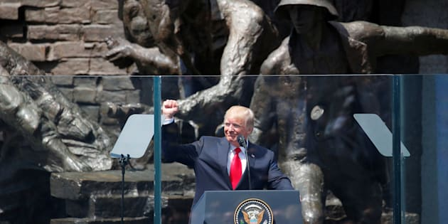 U.S. President Donald Trump gives a public speech in front of the Warsaw Uprising Monument at Krasinski Square, in Warsaw, Poland July 6, 2017. REUTERS/Laszlo Balogh