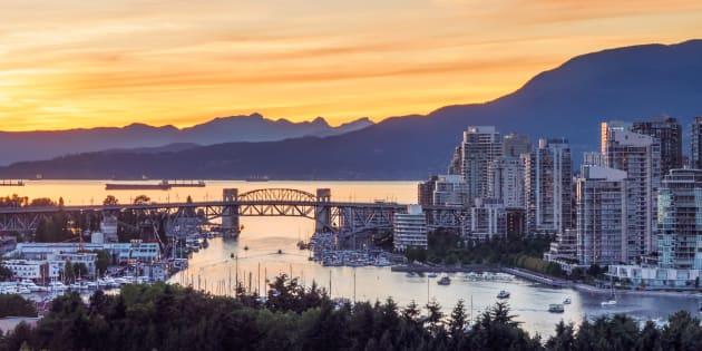 The Burrard Bridge and condos along Vancouver's False Creek, June 21, 2015.