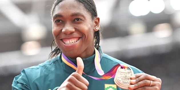 Caster Semenya on the podium during the victory ceremony for the Women's 1,500m at the 2017 IAAF World Championships in the London Stadium in London on August 8 2017.