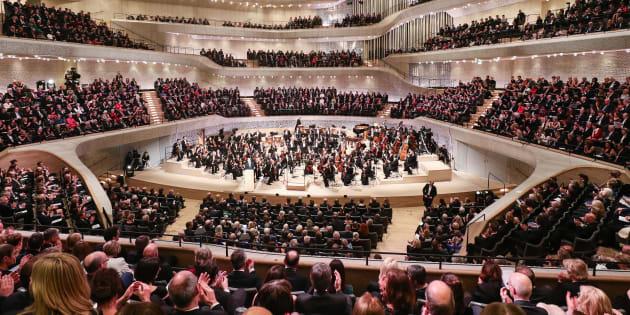 Intérieur de la philharmonie de Hambourg qui a ouvert, ce mercredi 11 janvier 2017, ses portes