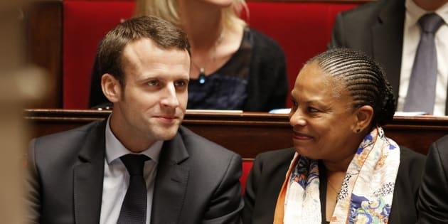 Emmanuel Macron et Christiane Taubira sous le précédent quinquennat.