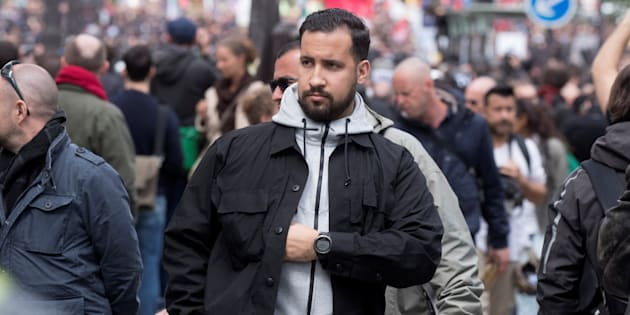 """La justice ouvre une enquête préliminaire pour """"usurpation"""" et """"violences"""" après les révélations sur Alexandre Benalla (photographiée ici lors des manifestations du 1er mai)"""