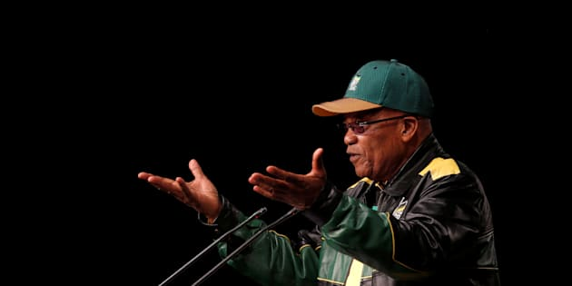 South Africa's President Jacob Zuma gestures during his opening address at the African National Congress 5th National Policy Conference.
