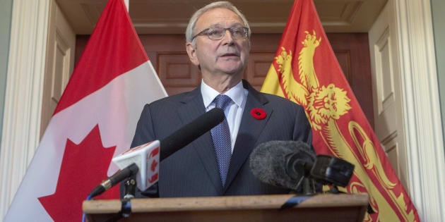 New Brunswick Progressive Conservative Leader Blaine Higgs answers questions from the media after meeting with Lieutenant Governor of New Brunswick Jocelyne Roy-Vienneau at Government House in Fredericton on Nov. 2, 2018.