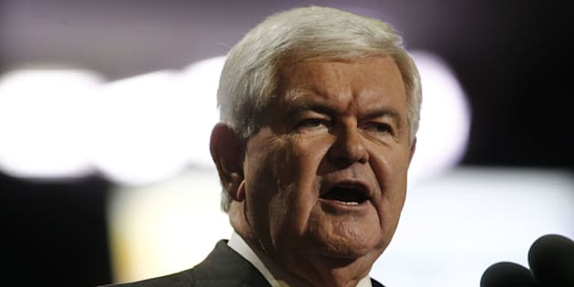 Newt Gingrich, former speaker of the U.S. House of Representatives, speak during the Republican National Convention (RNC) in Cleveland, Ohio, U.S., on Wednesday, July 20, 2016. Donald Trump, a real-estate developer, TV personality, and political novice, was formally nominated as the 2016 Republican presidential candidate Tuesday night in Cleveland after his campaign and party officials quashed the remnants of a movement to block his ascension. Photographer: Andrew Harrer/Bloomberg via Getty Images