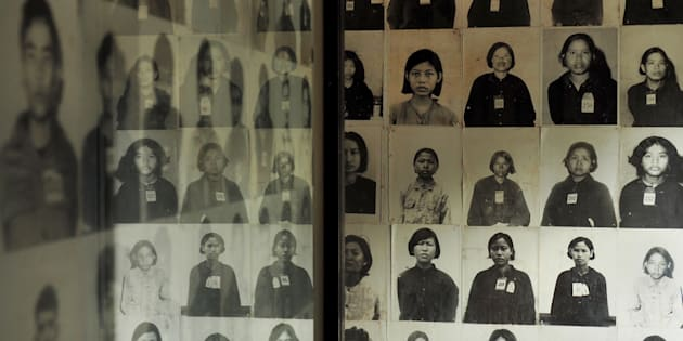TUOL SLENG GENOCIDE MUSEUM, PHNOM PENH, CAMBODIA - 2017/04/16: Portrait photographs of prisoners are on display at the S-21 Tuol Sleng Genocide Museum. The Khmer Rouge renamed the Tuol Svay Pray High School to Security Prison 21(S-21) in 1976. Estimated 20,000 people were imprisoned during the Pol Pot regime, only seven prisoners survived. (Photo by Satoshi Takahashi/LightRocket via Getty Images)